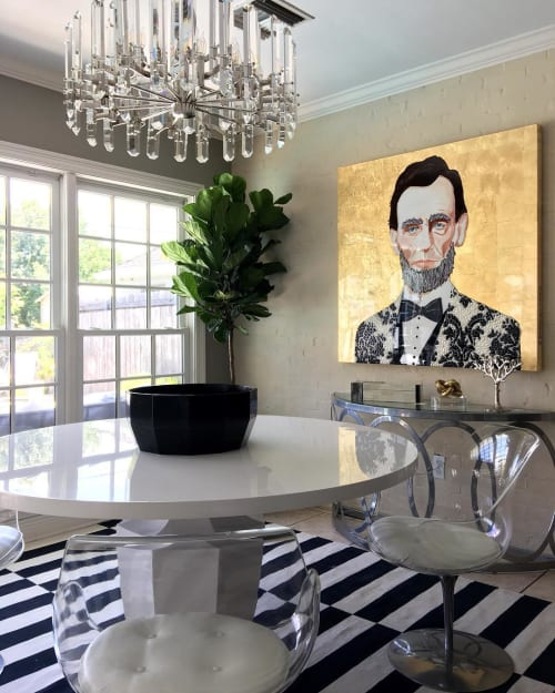 Paintings by Ashley Longshore at Private Residence, New York - Abraham Lincoln in Gold
