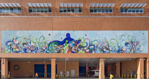 Murals by Shinique Smith seen at Mother Clara Hale Bus Depot, New York - Mother Hale's Garden