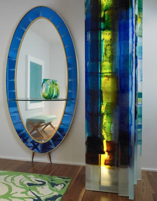 Sculptures by Walter Gordinier seen at Central Park West Family Residence, New York, New York - Grand Tango glass sculpture
