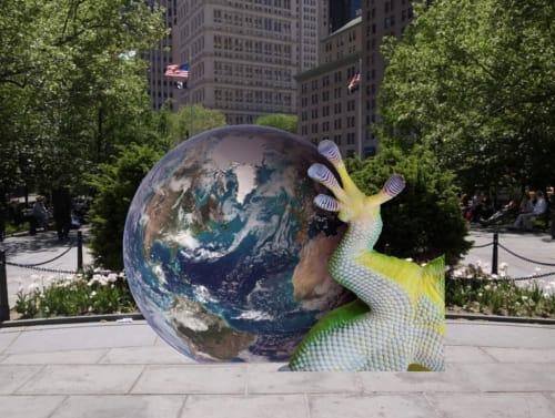 Public Sculptures by Katja Novitskova seen at City Hall Park, New York - Earth Potential
