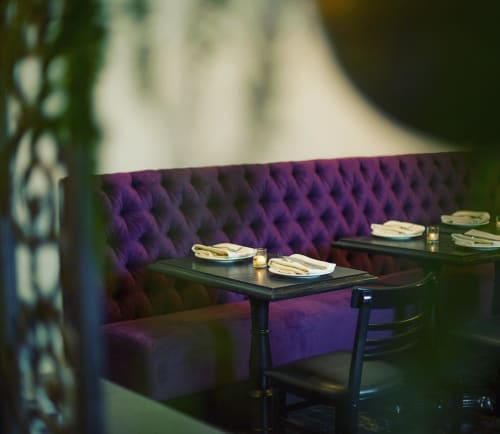 Chairs by Arcsine seen at Alba Ray's, San Francisco - Purple Velvet Banquette