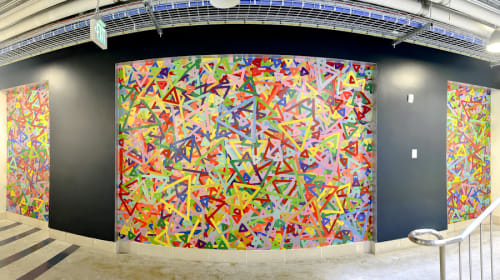 Murals by Paul Morgan seen at Facebook HQ, Menlo Park - Vinyl on Drywall