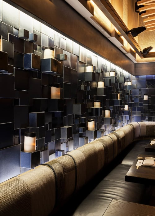 Sculptures by Pascale Girardin at Nobu Downtown, New York - Blue Glazed Stoneware Block Tile Mural