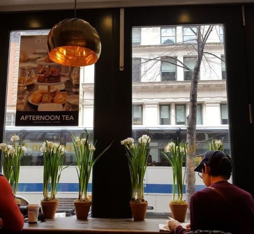 Pendants by lightexture seen at Patisserie Chanson, New York - Iris Pendant