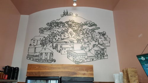 Murals by Amos Goldbaum seen at CoffeeShop, San Francisco - Bernal Hill