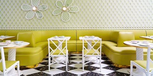 Chairs by India Mahdavi seen at Ladurée Beverly Hills, Beverly Hills - Pale Green Banquettes
