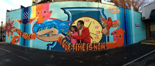 Street Murals by Mix Masters Murals seen at 2051 Howard St, Chicago, IL, Chicago - We Are Here Our Time Is Now