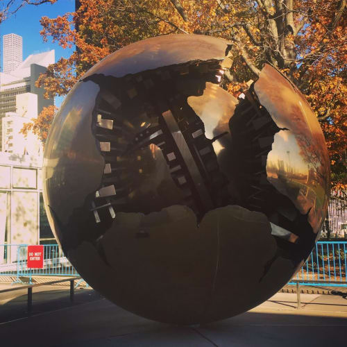 Sculptures by Arnaldo Pomodoro seen at United Nations, NY, New York - Sphere within Sphere
