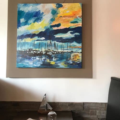 Paintings by Caroline Karp Artist seen at Ristorante Acqua Alta, Clearwater - Sailing Painting