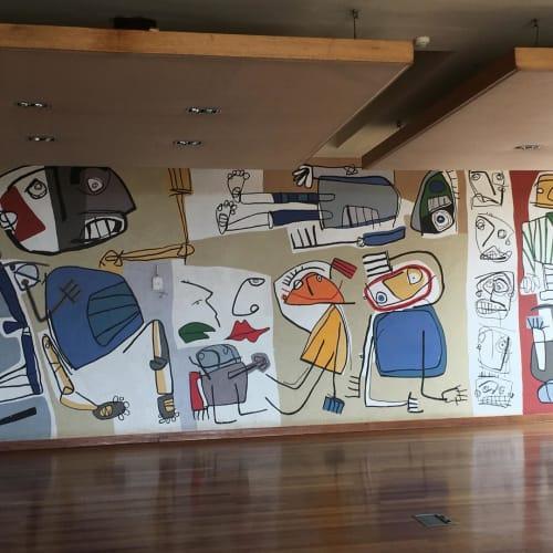 Murals by Paul du Toit seen at Forum Homini, Krugersdorp - Purple Hominid Mural