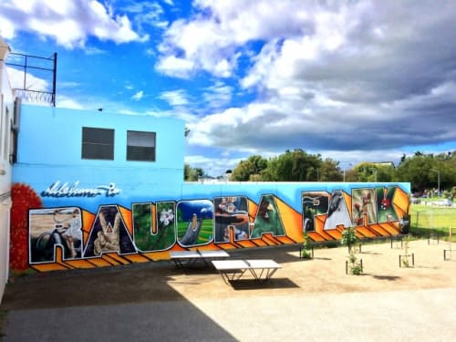 Street Murals by Wongi seen at Rauora Park, Christchurch - Rauora Park Mural