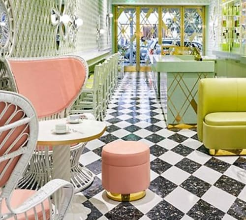 Chairs by India Mahdavi seen at Ladurée Beverly Hills, Beverly Hills - Dot a Agalette