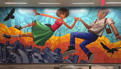 Murals by John Park seen at Northeastern University - Boston, MA, Boston - Flying or Falling III 2015