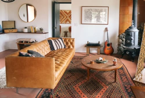 Couches & Sofas by West Elm at The Joshua Tree Casita, Joshua Tree - Modern Chesterfield Leather Sofa