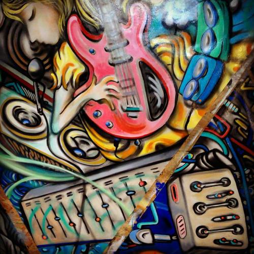 Murals by Paul Santoleri seen at Cirrus Logic, Edinburgh - Wires, Guitars and Castles