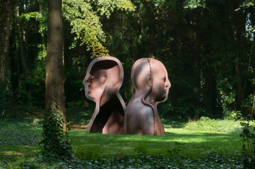 Sculptures by Peter Burke seen at Cass Sculpture Foundation, Goodwood - Janus Head