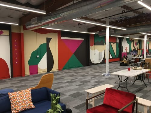 Murals by Robbie Simon seen at Facebook, Playa Vista, Los Angeles - Abstract Mural