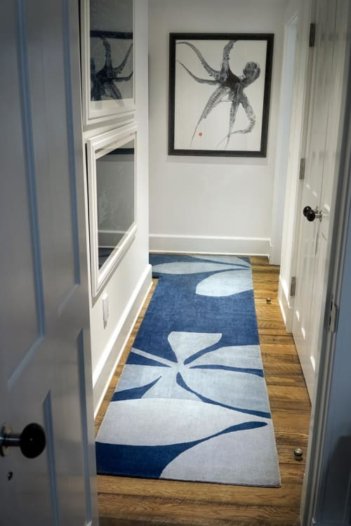Rugs by Judy Ross (of Judy Ross Textiles) seen at Shelter Island House, Shelter Island Heights - Custom Fauna Rug