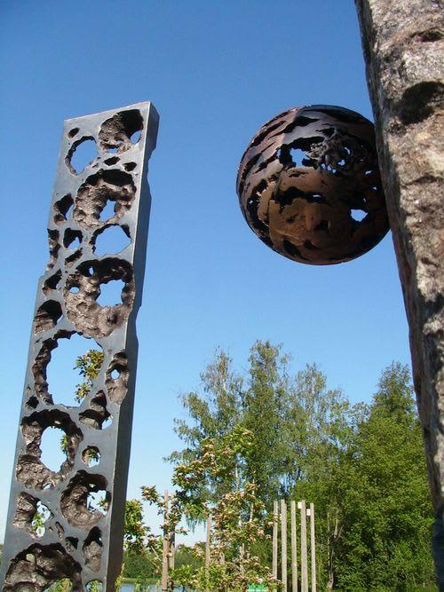 Public Sculptures by Keiko Kubota-Miura seen at Parikkala Sculpture Park - Bridge To The Planet