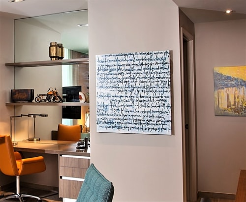 Paintings by Ritchard Rodriguez seen at east miami hotel, Miami - Ivory Tower Blues