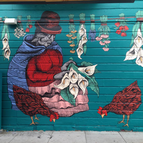 Murals by Carmen McNall seen at Cafe Revolution 3248 22nd St, San Francisco, CA, San Francisco - Untitled