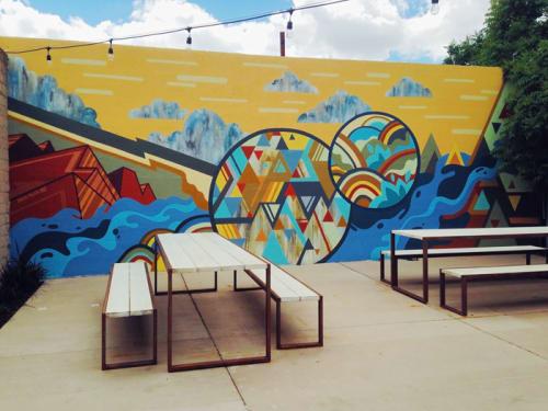 Murals by David Polka seen at Zendo, Albuquerque - Back Patio