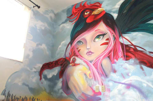 """Murals by Yuhmi Collective seen at Private Residence, Miami - """"Familiar"""""""