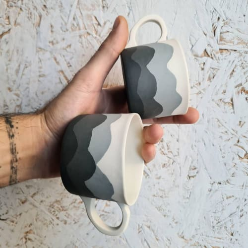 Cups by BasicArtCeramic seen at Creator's Studio, Çanakkale - Wave (M)