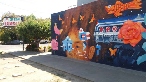 Street Murals by Samuel Rodriguez aka Sam Rodriguez seen at Kiem Service Laundromat, San Jose - 8th and Empire Streets
