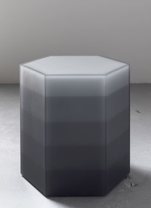 Tables by Facture Studio at Independent Lodging Congress, in the William Vale NYC, Brooklyn - Gray Hex Gradient Side Table