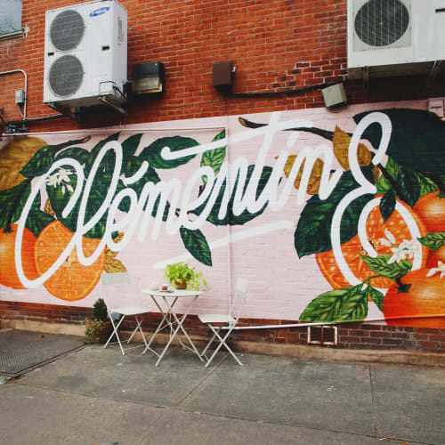 Murals by Mika Revell Fine Art X Little Pink Pills seen at Clementine Bakery, Brooklyn - Mural