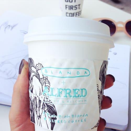 Murals by Blanda seen at Alfred Coffee (Melrose Place), Los Angeles - Custom Made Coffee Sleeves