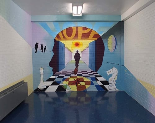 Murals by Julia Cocuzza seen at George Motchan Detention Center, Bronx - The Walk to Freedom
