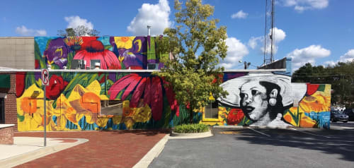 "Street Murals by Charmaine Minniefield seen at Hapeville City Hall, Hapeville - ""Flowers Divine"" mural"