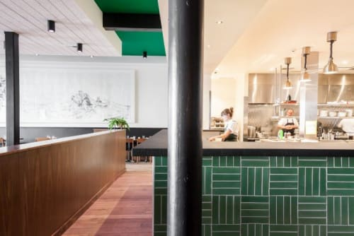Tiles by Fireclay Tile at Mister Jiu's, San Francisco - Parquet Tile in Sea Green