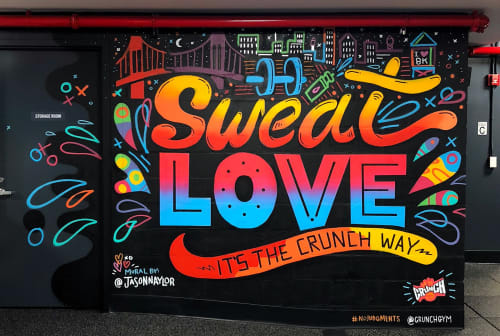 Murals by Jason Naylor seen at Crunch Fitness - Park Slope, Brooklyn - Sweat Love