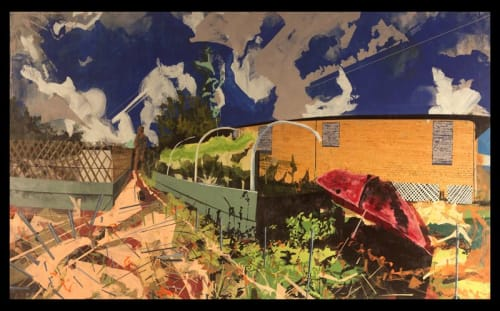 """Paintings by Miro Hoffmann seen at Ogden Museum of Southern Art, New Orleans - """"Crisp Farms Satellite 9th Ward New Orleans"""" 2016"""