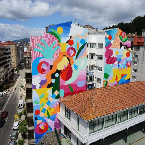 "Murals by Zosen seen at Colegio Labor, Vigo - ""Los frutos del mar y la montaña"" mural"