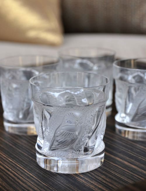 Tableware by Lalique seen at £10 (Ten Pound Bar), Beverly Hills - Lalique Owl Tumblers