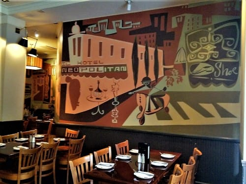 Murals by Brian Barneclo at Puccini & Pinetti, San Francisco - Back Wall Mural