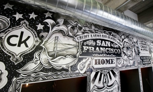 Murals by Vic Lee seen at Credit Karma, San Francisco - CK Has Always Called SF Home