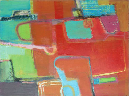 Paintings by Trudy Montgomery seen at Ormer Mayfair, London - Tutti Frutti Fields
