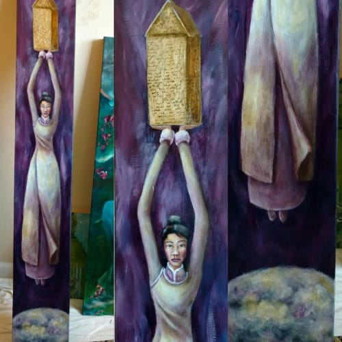 Paintings by Cynthia Tom Art seen at Marin Jewelers Guild, San Rafael - Awakening the Feminine: A Place of Her Own