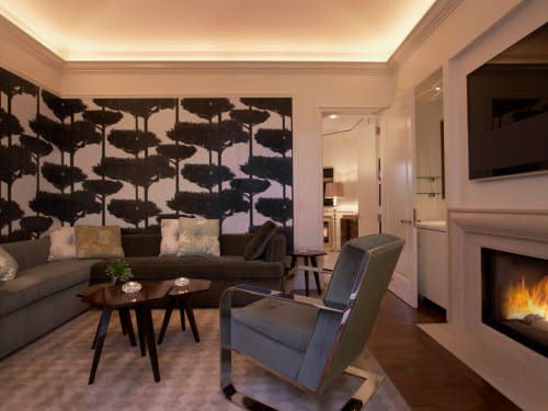 Wallpaper by Rottet Studio seen at The Beverly Hills Hotel, Beverly Hills - Pine Trees Wallpaper