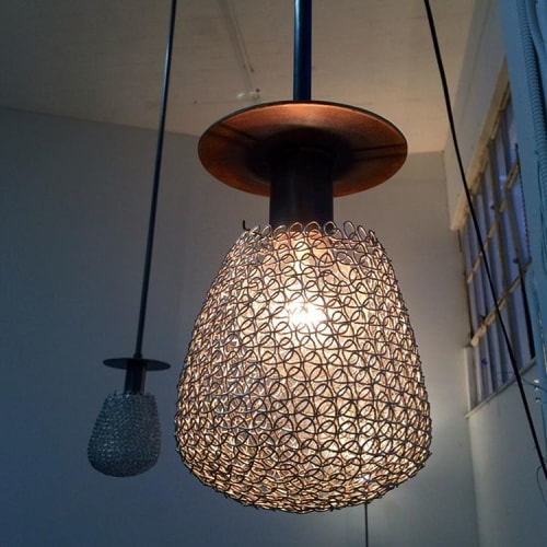 Lighting by Robert Lewis Studio seen at Tartine Manufactory, San Francisco - Custom Hand Woven Metal Light Fixtures