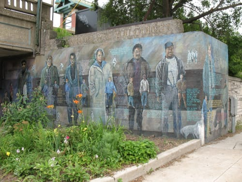 Street Murals by Olivia Gude seen at 1545 East 56th Street, Chicago, IL, Chicago - Where We Come From...Where We're Going