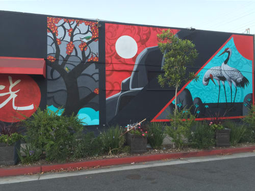 Murals by John Park seen at Bowl Kitchen, Santa Monica, CA, Santa Monica - Hwatu 2015