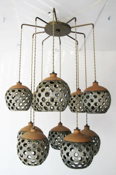 Chandeliers by Heather Levine seen at Ojai Rancho Inn, Ojai - Ceramic Pendant Chandelier