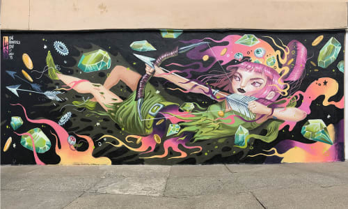 Street Murals by Lauren Ys seen at Marina District, SF, San Francisco - Archer on Fire for Clash for Clans