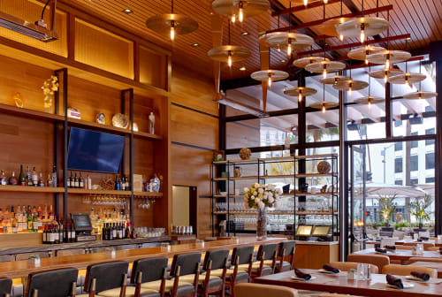 Lighting by ICRAVE seen at Ocean Prime Beverly Hills, Beverly Hills - Custom Lighting Fixture